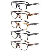 Eyekepper 5-Pack Quality Spring-Hinges Sport Style Reading Glasses+1.25