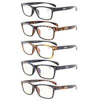 Eyekepper 5-Pack Quality Spring-Hinges Sport Style Reading Glasses+1.75