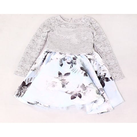 Speechless Girl's Dress Gray Blue Size 10 2-Piece Floral Glitter Lace