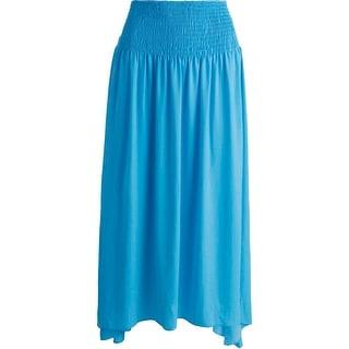 Moon & Meadow Womens Sateen Smocked Maxi Skirt - L