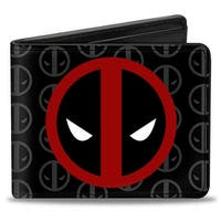 Marvel Universe Deadpool Logo Centered Monogram Black Gray Red White Bi Bi-Fold Wallet - One Size Fits most