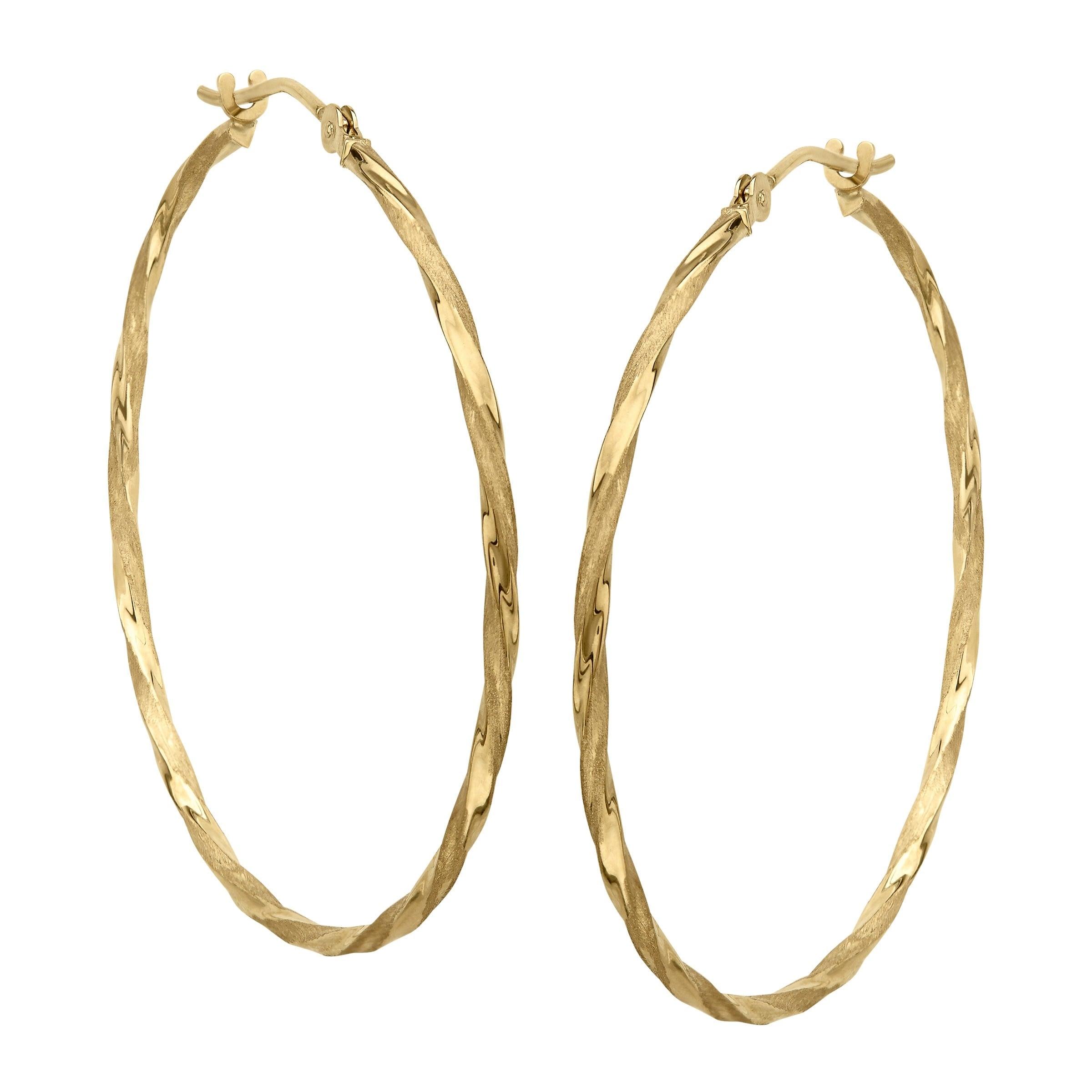 Eternity Gold Twisted Hoop Earrings In 14k Yellow