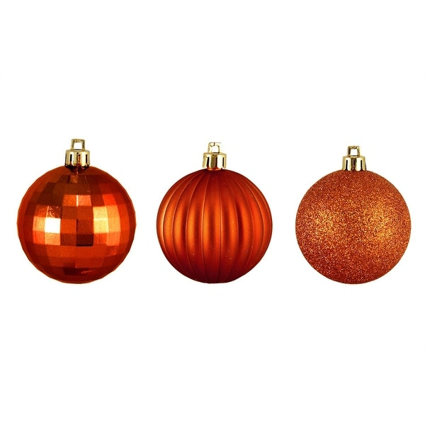 "100ct Burnt Orange 3-Finish Shatterproof Christmas Ball Ornaments 2.5"" (60mm)"