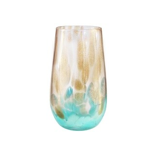 Fitz and Floyd Simone Highball Glasses (Set of 4), Gold/Teal