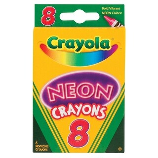 Crayola Non-Toxic Crayon, Assorted Neon Color, Pack of 8