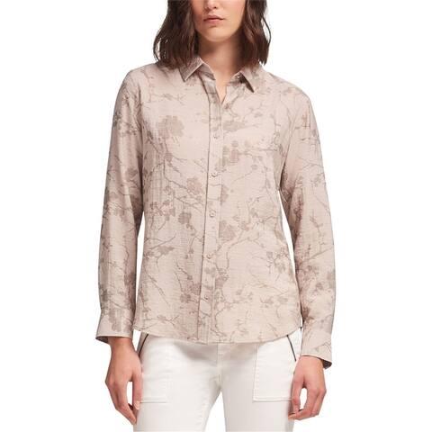 Dkny Womens Metallic Floral Button Up Shirt