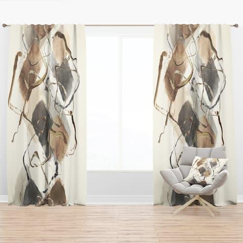 Designart 'Gold Glam Squares III' Modern Blackout Curtain Panel