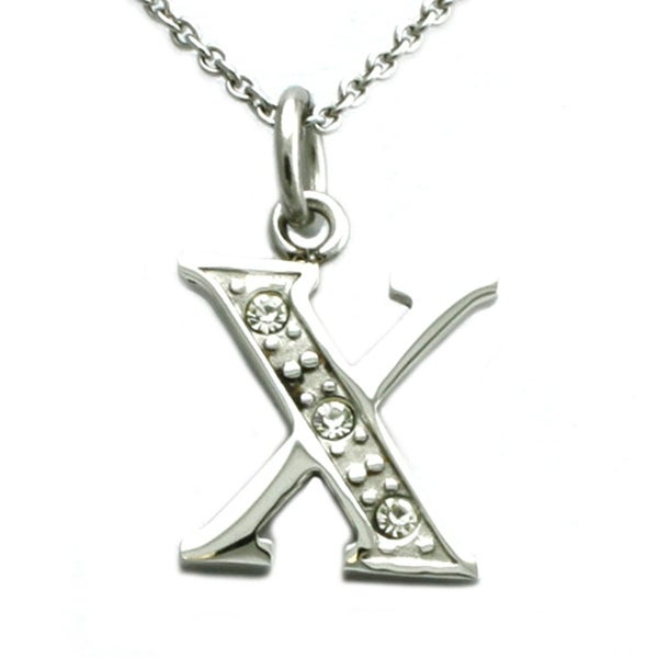 Stainless Steel Alphabet Initial Pendant w/ CZ Stones - Letter X - 18 inches