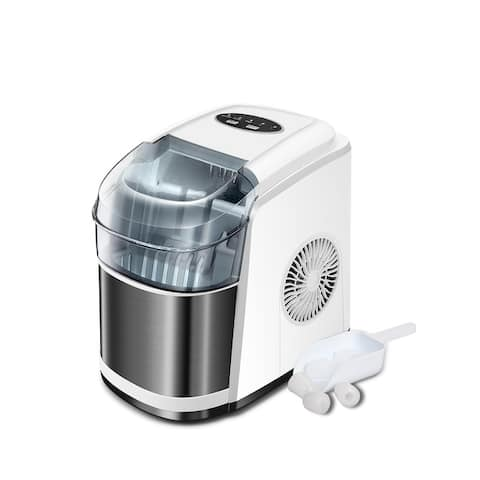 Portable Ice Maker Countertop - 9 Ice Cubes Ready in 6 Mins - Makes 26 lbs Ice in 24 hrs - with Basket and Ice Scoop