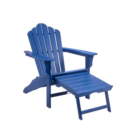 Classic Plastic Outdoor Patio Adirondack Chair with Footrest
