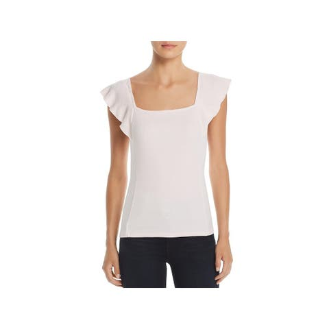 Three Dots Womens Tank Top Square Neck Flutter Sleeves