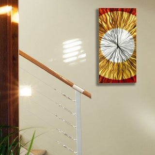 "Statements2000 Metal Wall Clock Art Copper Gold Decor by Jon Allen - Dusk Clock - 24"" x 10"""