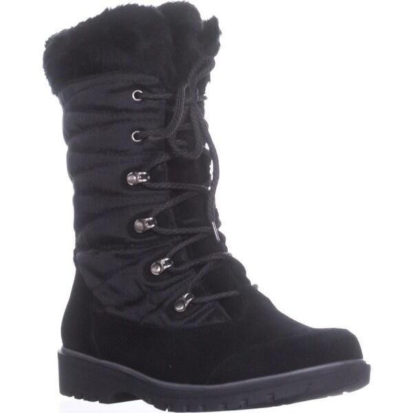 BareTraps Satin Lace-Up Snow Boots, Black
