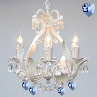 White Iron Crystal Flower Chandelier Lighting With Blue Crystal Hearts