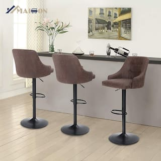 Maison Adjustable Bar Stool for Kitchen Counter Swivel Barstool with Mid-Back and PU Leather Seat, Brown and Grey