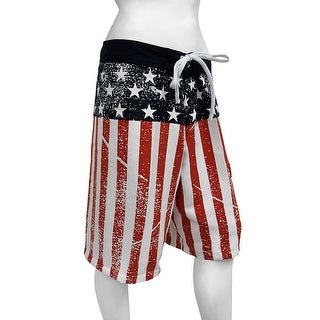 American Flag Stars and Stripes Distressed Board Shorts (Option: White)
