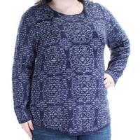 CHARTER CLUB Womens Blue Long Sleeve Jewel Neck Sweater  Size: XXL