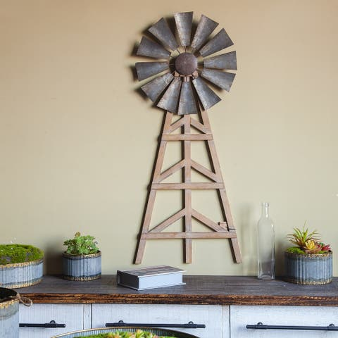 Wood and Metal Wind Mill Wall Decor