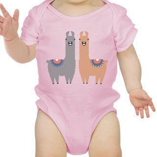 Llama Pattern Infant Bodysuit Gift Pink