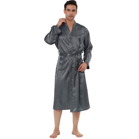 Men's Satin Robe Nightdress Sleepwear Pajama Dress Bathrobe