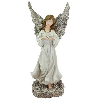 """11"""" Serene Angel with Dove Outdoor Patio Garden Statue"""