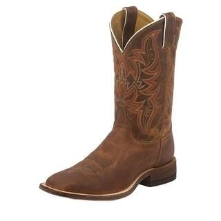 Justin Western Boots Mens Cowboy Bent Rail Distressed Cognac BR735