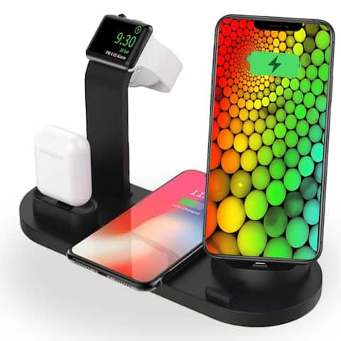 Universal Tabletop Qi Charging Pad & Universal SmartPhone Charging Docking Station w/ iWatch Charger Dock & EarPod Charger