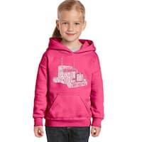 LA Pop Art Girl's Word Art Hooded Sweatshirt - KEEP ON TRUCKIN' - Pink, L