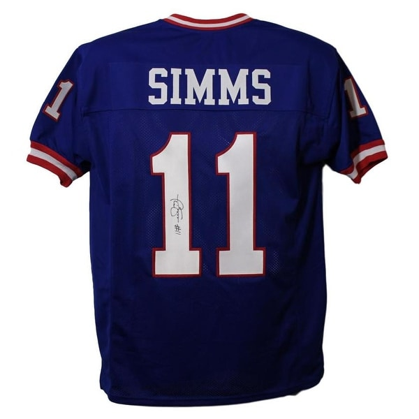 the best attitude 7dfaa cca64 Phil Simms Autographed New York Giants Blue XL Jersey