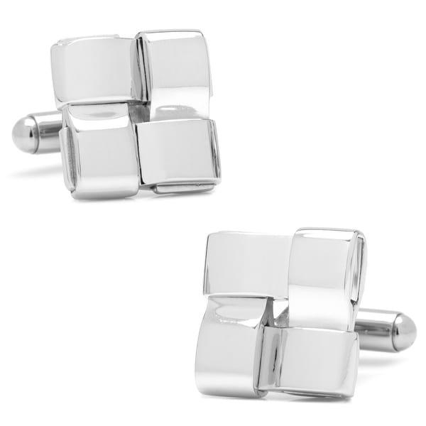 Silver Woven Square Cufflinks