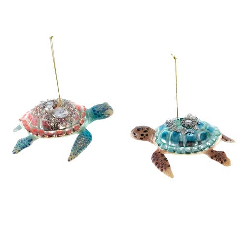 Treasures of Sea Encrusted Sea Turtles Christmas Holiday Ornaments Set of 2