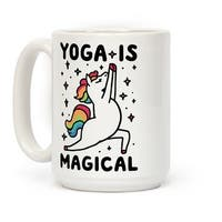 Yoga Is Magical White 15 Ounce Ceramic Coffee Mug by LookHUMAN