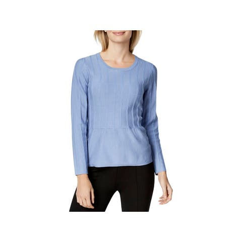 NY Collection Womens Petites Pullover Sweater Textured Peplum - PL