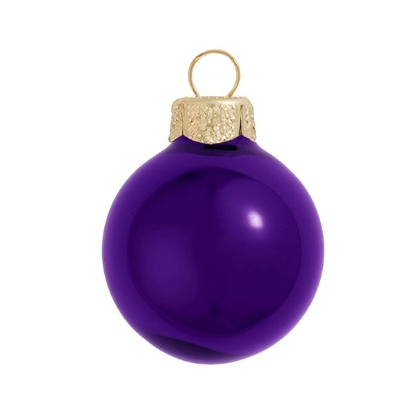 "6ct Shiny Purple Glass Ball Christmas Ornaments 4"" (100mm)"