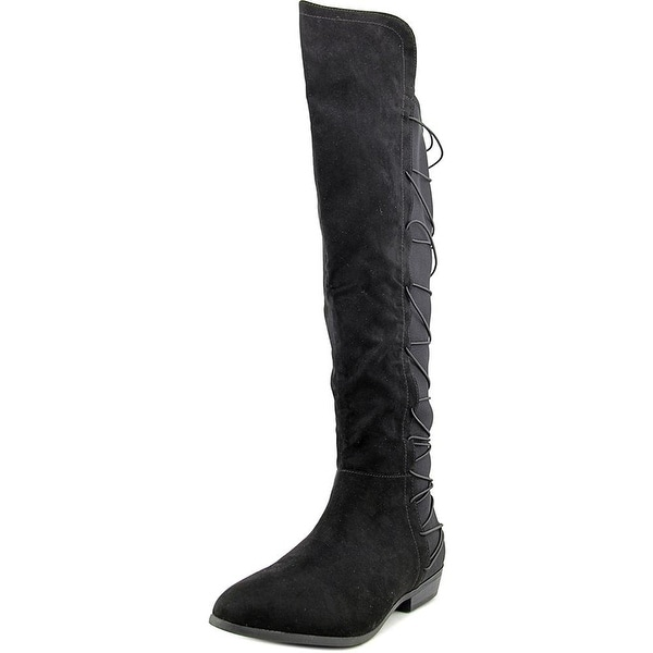 Material Girl Womens Cayln Closed Toe Over Knee Fashion Boots, Black, Size 11.0