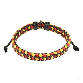 Triple Colored Diagonal Checker Weaved Leather Bracelet with Drawstrings (9 mm) - 7.5 in