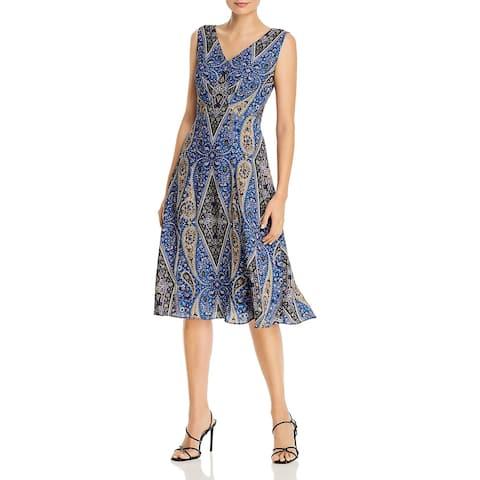 Kobi Halperin Womens Midi Dress V Neck Printed - Blue