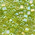 Miyuki 4mm Glass Cube Beads Transparent Lime Green AB 258 10 Grams - Thumbnail 0