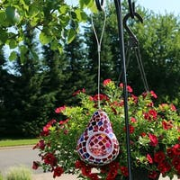 Sunnydaze Ruby Mosaic Decorative Glass Outdoor Hanging Bird Feeder - 6-Inch