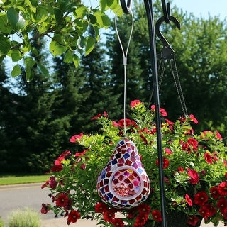 Sunnydaze Ruby Mosaic Glass Outdoor Hanging Bird Feeder - 6-Inch