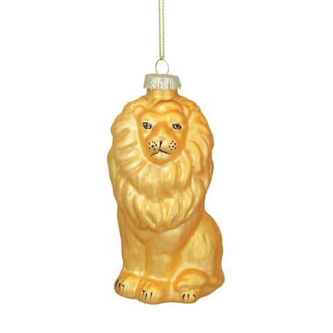 """4.25"""" Yellow and Gold Glass Lion Christmas Ornament"""