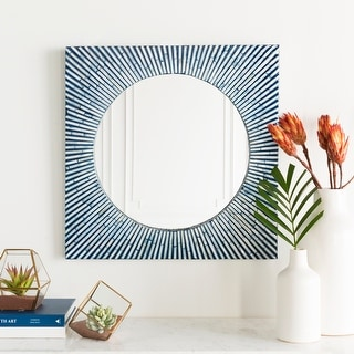 "Link to Helu Mother of Pearl Inlaid Wall Mirror (24 x 24) - Blue - 24"" x 24"" Similar Items in Round Mirrors"