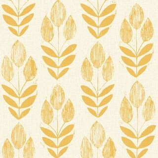 Brewster 2535-20654 Scandinavian Yellow Block Print Tulip Wallpaper