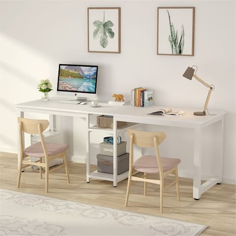 78 Inches Computer Desk Double Workstation, Two Person Office Desk with Shelves