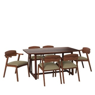 Link to Carson Carrington Comiskey 7-piece Mid Century Modern Espresso Wood Dining Table and Arm Chairs Similar Items in Dining Room & Bar Furniture