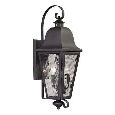 Traditional Two Light Outdoor Wall Lantern - Rectangular Porch Light with Scrolling Arms