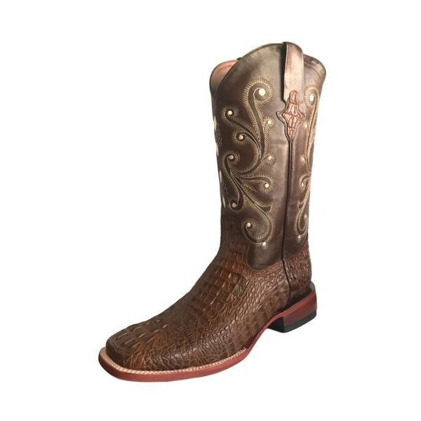 Ferrini Western Boots Mens Caiman Gator Cowboy Sport Rust