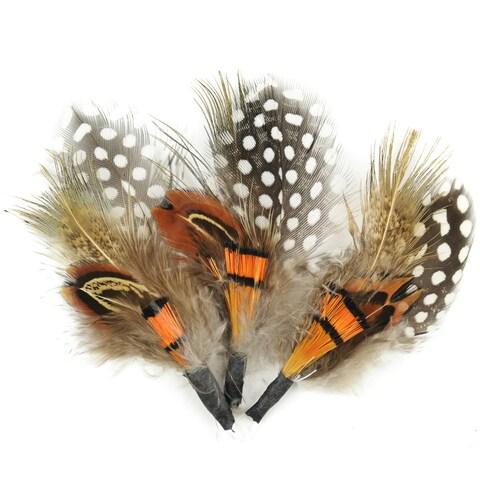 "Feather Picks 3.5"" 3/Pkg-Brown & Orange"