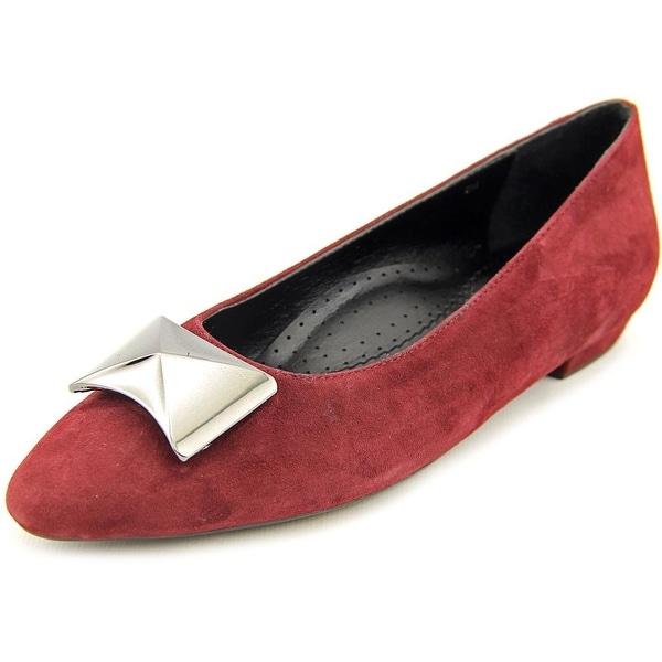 Vaneli Gaenor Women W Pointed Toe Suede Burgundy Flats