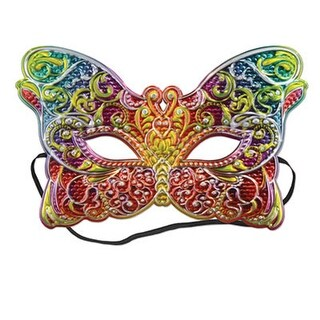 Pack of 12 Butterfly Shaped Metallic Mardi Gras Mask Costume Accessories with Elastic
